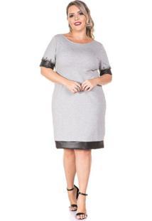 Vestido Plus Size Cinza