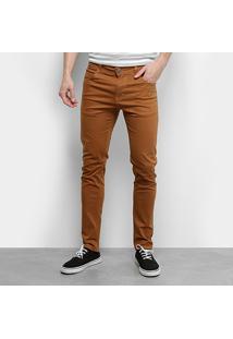 Calça Sarja Ecxo Skinny Color Masculina - Masculino-Caramelo