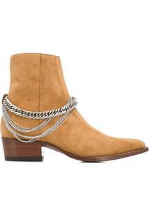 Amiri Ankle Boot Com Detalhe De Corrente - Marrom