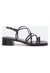 Sandália Tiras Salto Médio Bico Quadrado