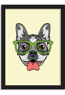Quadro Decorativo Bulldog Francês Com Óculos Verde Preto - Médio