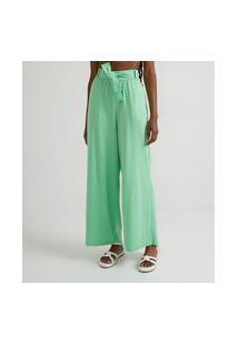 Calça Pantalona Em Algodão Com Cinto Faixa