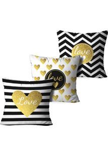 Kit 3 Capas Para Almofadas Decorativas Love Decor Geométrica Love Multicolorido Branco - Kanui