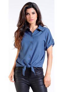 Camisa Intens Manga Longa Crepe Laço Poá Azul