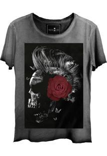 Camiseta Estonada Skull Lab Caveira Punk Grafite