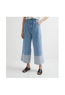 Calça Wide Leg Jeans Com Barra Dobrada E Detalhe De Prega Frontal
