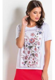 Blusa Moda Evangélica Branca Com Estampa Frontal