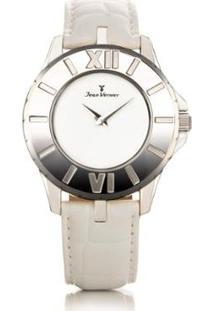 Relógio De Pulso Jean Vernier Pulseira Couro Feminino - Feminino-Branco+Prata