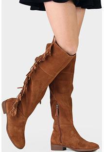 Bota Couro Over The Knee Bottero Franjas Feminina - Feminino-Caramelo