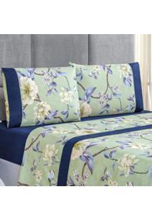 Jogo De Cama Forest Floral Verde/Marinho Casal Micropercal 200 Fios 04 Peã§As - Azul Marinho - Dafiti