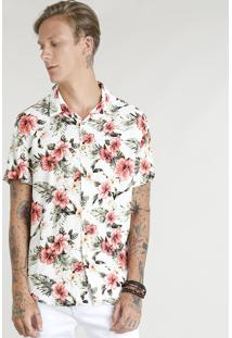 Camisa Masculina Estampada Floral Manga Curta Off White
