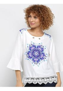 Blusa Pérola Bata Mandala Feminina - Feminino-Branco+Roxo