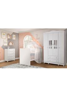 Dormitório Guarda Roupa Ariel 4 Portas Cômoda Berço Gabi Branco Carolina Baby