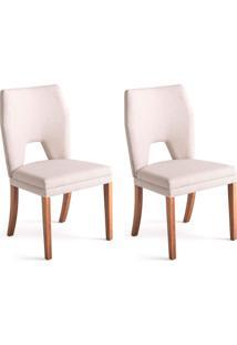 Conjunto Com 2 Cadeiras De Jantar Diamante Branco E Castanho