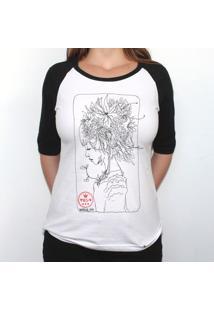 Himawari Head - Camiseta Raglan Manga ¾ Feminina