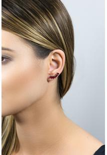Brinco De Ouro 18K Ear Cuff Com Rubi