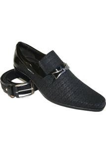 Sapato Social Gofer Tracejado - Masculino-Preto