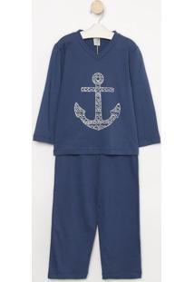 Pijama Âncora- Azul Marinho & Branco- Zulaizulai