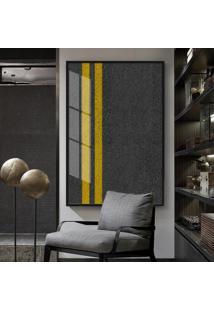 Quadro 150X100Cm Abstrato Asfalto Vidro Cristal E Moldura Preta Decorativo Interiores - Oppen House
