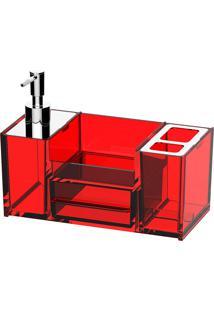 Organizador De Pia Brinox Poliestireno Quadrata Banheiro Vermelho