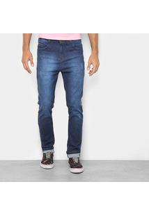 Calça Jeans Skinny Danger Estonada Cintura Alta Masculina - Masculino-Azul