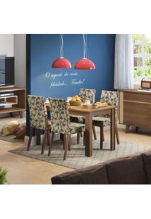 Conjunto De Mesa Com 4 Cadeiras Melina Rústico E Bege