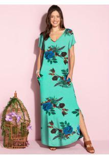Vestido Longo Soltinho Com Fenda Floral Verde