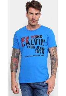 Camiseta Calvin Klein Manga Curta Masculina - Masculino-Azul Royal