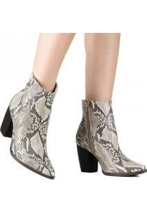 Bota Via Marte Ankle Boot Western Cobra 19-6008 Bege - Bege - Feminino - Dafiti