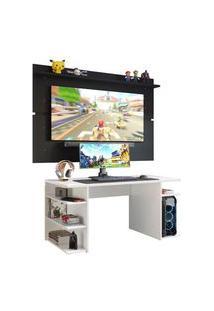 Mesa Para Computador Gamer E Painel Tv Madesa Branco/Preto Branco