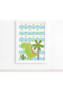 Quadro Infantil Dinossauro Baby 2 Verde 22X32Cm Moldura Branca - Azul - Dafiti