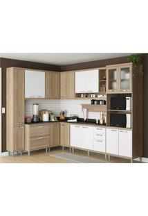 Cozinha Completa Multimã³Veis Com 10 Peã§As SicãLia 5803 Argila/Branco - Bege/Incolor/Marrom - Dafiti