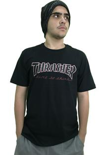 Camiseta Independent Collab Thrasher Time To Grind Preta