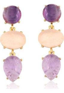 Brinco Toque De Joia Multi Pedras Ametista E Quartzo Rosa - Feminino-Dourado