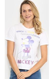 Blusa Cativa Disney Mickey Color Paetê Feminina - Feminino-Branco