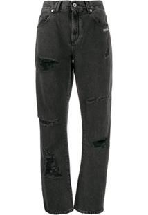 Off-White Calça Jeans Com Bordado - Preto