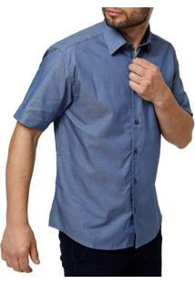 Camisa Manga Curta Masculina Azul