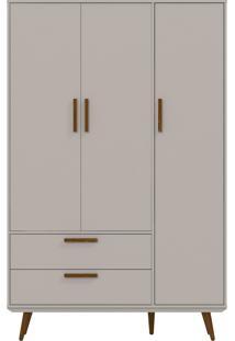 Guarda-Roupa 3 Portas Retrô Cinza E Eco Wood Matic Móveis