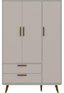 Guarda-Roupa 3 Portas Retrô Cinza E Eco Wood Matic