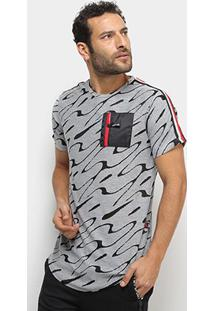 Camiseta Eagle Rock Manga Listrada Masculina - Masculino-Mescla