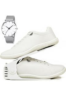 Kit Sapatênis Sapato Casual Com Organizador E Relógio Clean Dubuy 900Db Branco - Kanui