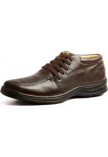 Botina Couro Doctor Shoes 972902 Pespontos Chocolate