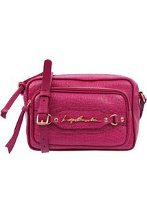 Bolsa Pequena Em Couro Rosa Com Bolso Frontal