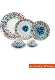 Aparelho De Jantar Com 42 Peças Mandala Azul 32,6X32,2X39,7 Cm