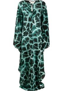 Roberto Cavalli Vestido Longo Com Estampa De Girafa - Verde