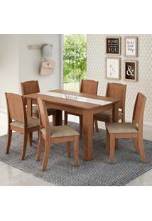 Conjunto De Mesa De Jantar Retangular Bárbara Com 6 Cadeiras Barbar Suede Marfim E Savana