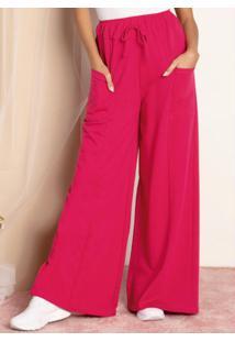 Calça Pantalona Em Moletom Pink Com Bolsos