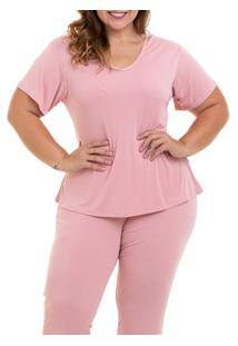 Pijama Longo Liganete Sepie (1052-Pl) Plus Size - Rose