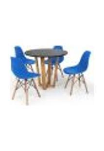 Conjunto Mesa De Jantar Lara 90Cm Preta Com 4 Cadeiras Charles Eames - Azul