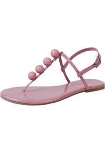 Sandália Rasteira Casual Flat Bolinhas Confortável Dia A Dia - Feminino-Rosa